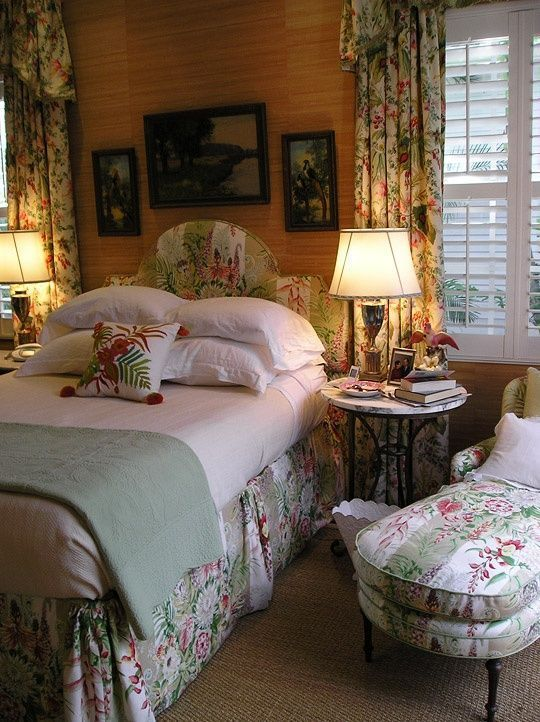 Cozy Cottage Bedroom. It looks comfy for guests? The bed might be just a bit too narrow. Love the wall color.