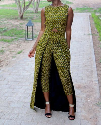 African / Ankara print jumpsuit with waist cape by FashAfrique