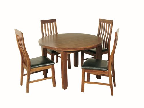 Roscrea Round Dining Set with Slatback Chairs , Roscrea Round dining set, Acacia round dining set, roscrea furniture