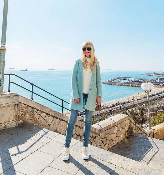 Tijana J.D - Dolce & Gabbana Black Cat Eye Sunglasses, Bershka Mint Coat, Twin Set Grey Bag, Inside Blue Skinny Jeans, Esprit White Sneakers - Tarragona travel guide
