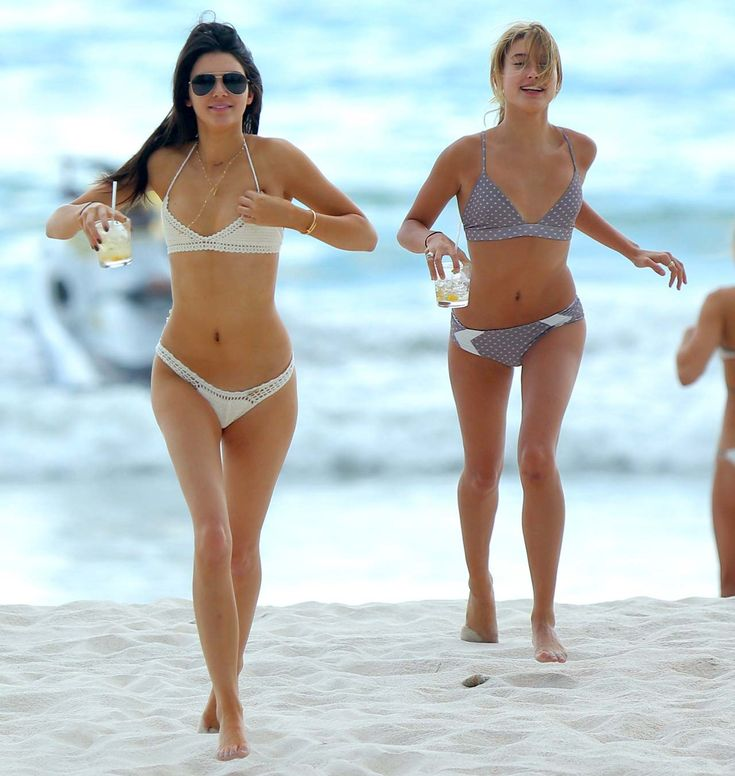 See Every Swimsuit the Kardashian-Jenner Squad Has Made Waves In - Kendall Jenner and Hayley Baldwin  - from InStyle.com