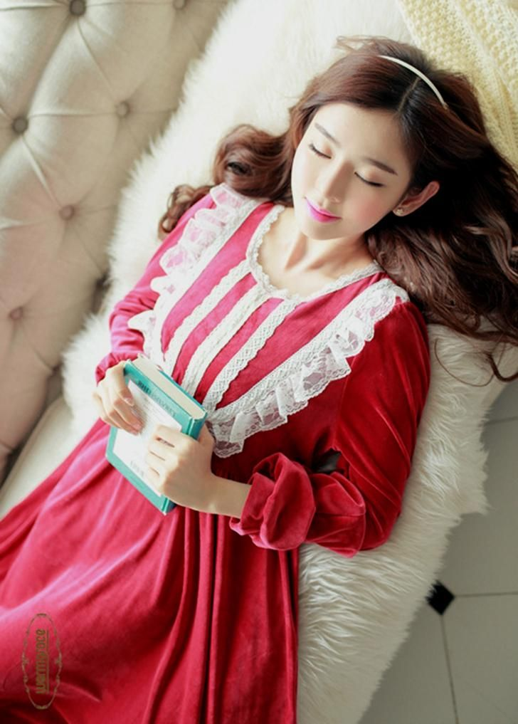 Winter Female Vintage Long Nightdress Princess Full sleeve Sleepwear $56.16   => Save up to 60% and Free Shipping => Order Now! #fashion #woman #shop #diy  http://www.homeclothes.net/product/winter-female-vintage-long-nightdress-princess-full-sleeve-sleepwear