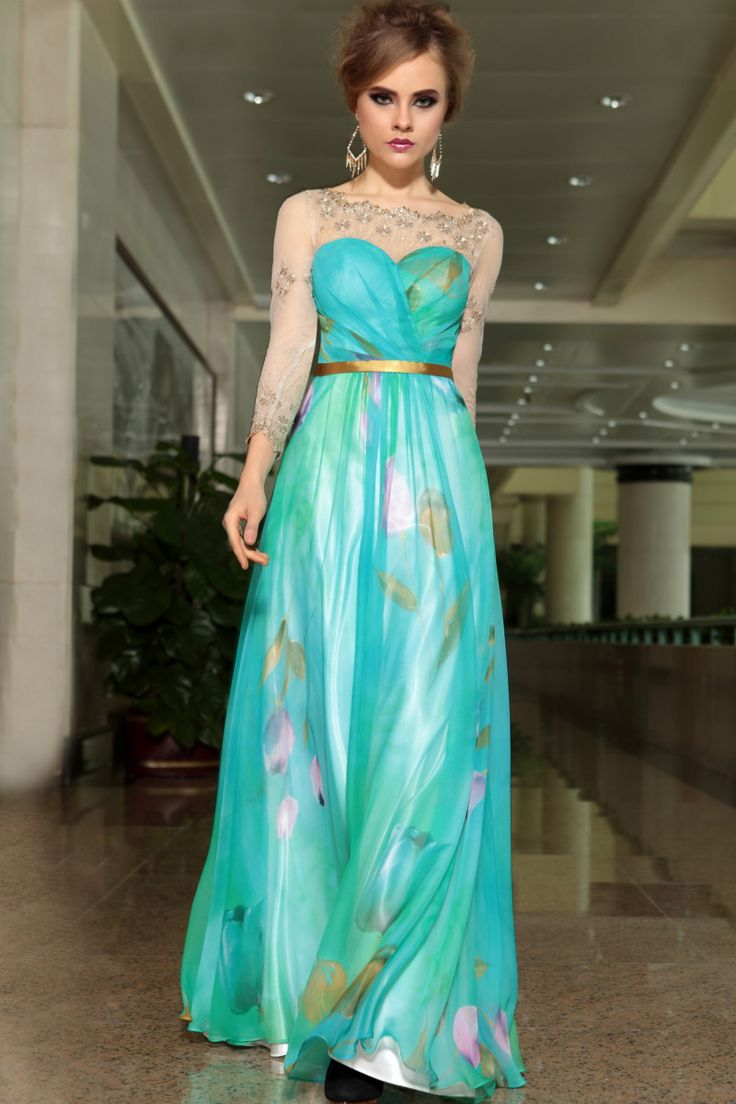 print-aqua-sheer-long-sleeve-jewel-neckline-long-formal-dress-