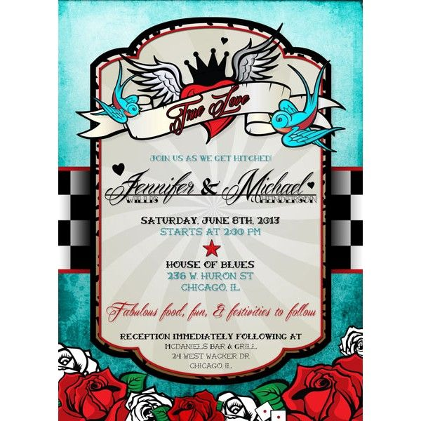 9 best rockabilly invitations images on pinterest | rockabilly, Wedding invitations