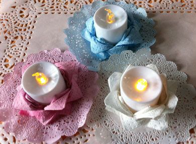 Electric tealight holders made from paper towels. Instructions at BellaOnline.com