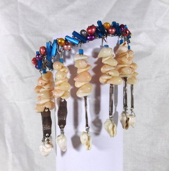 Beachy Handmade Shell and Glass Beaded Dangle Cuff Bracelet