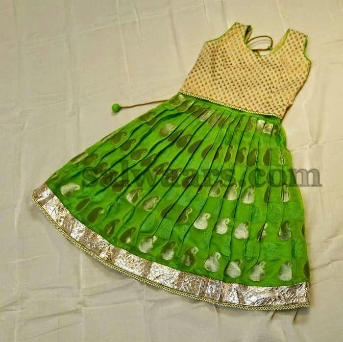 Parrot Green Benaras Lehenga   Indian Dresses