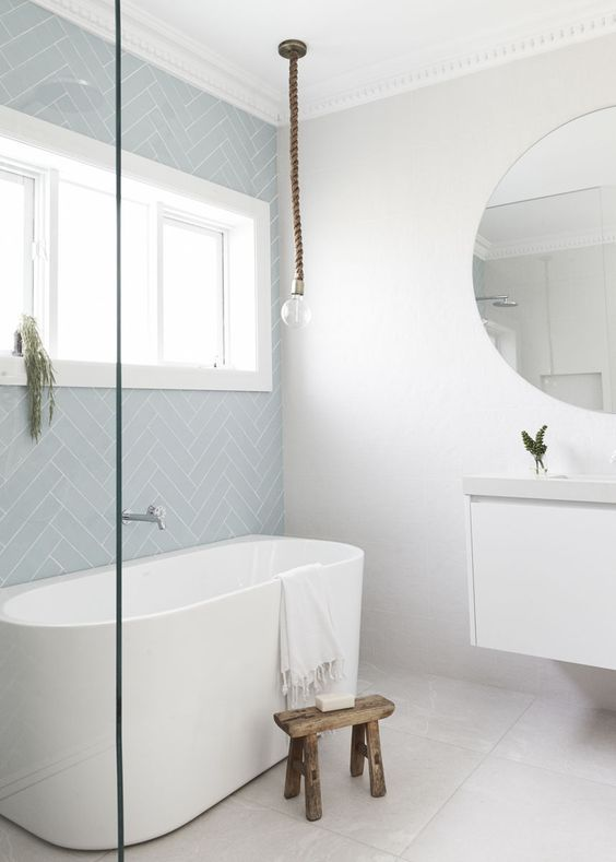 Pictured here - Handmade Subway Sky Blue. Available in 75x150mm & 75x300mm sizes from Alstonville Tiles & Floorcoverings