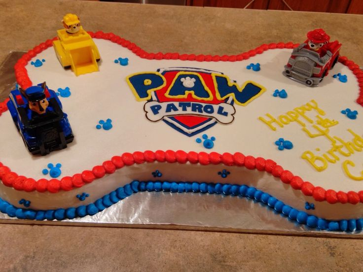 Paw Patrol cake I made for my son's 4th bday