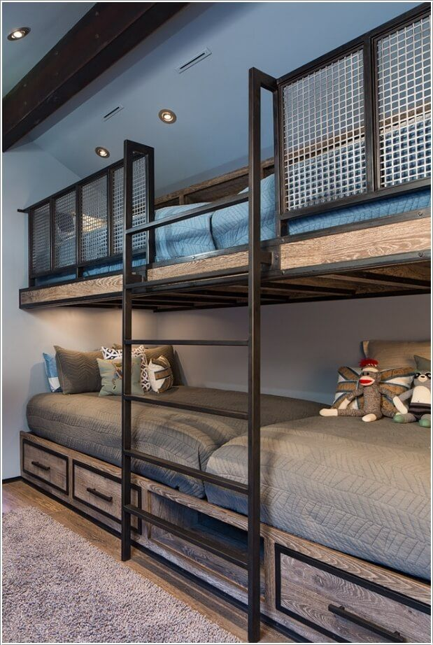 10 Cool Built In Bunk Bed Rail Ideas Bunk Bed Rooms Bunk Beds