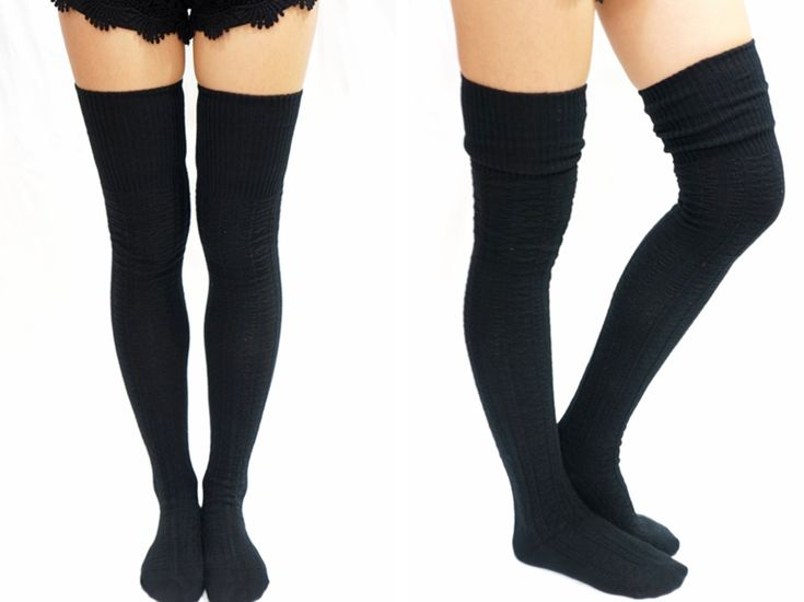 Cozy Cable Knit Thigh high socks Boot socks -Black