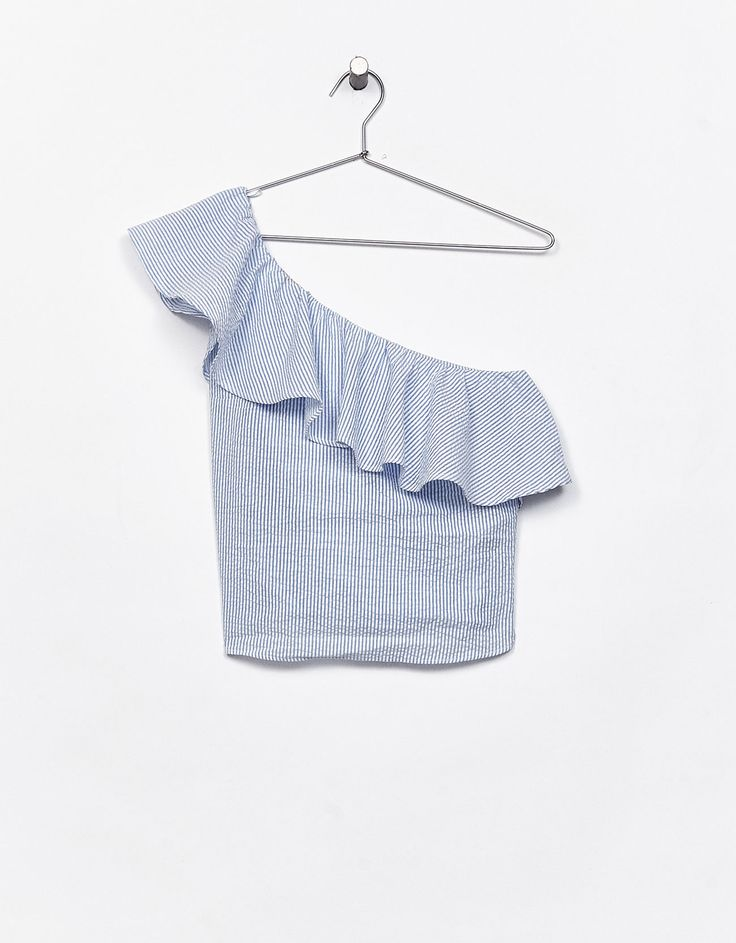 Asymmetric frilled poplin top - New - Bershka Finland