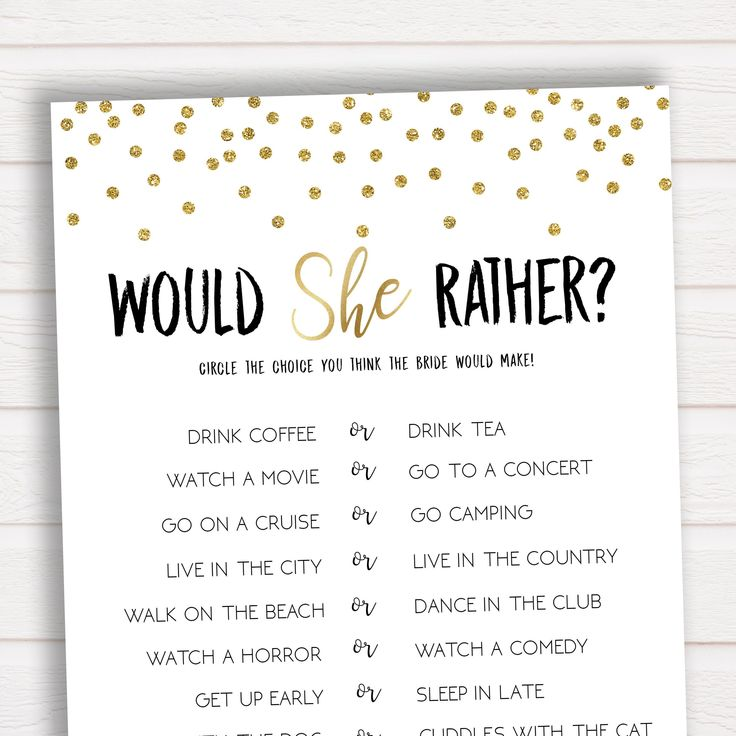 Would She Rather Bridal Shower Game, Bridal Shower Game, Bachelorette Party, Bachelorette Games, What Would the Bride Do Game, Bridal Games by ohhappyprintables on Etsy https://www.etsy.com/listing/585403347/would-she-rather-bridal-shower-game #Weddingsgames