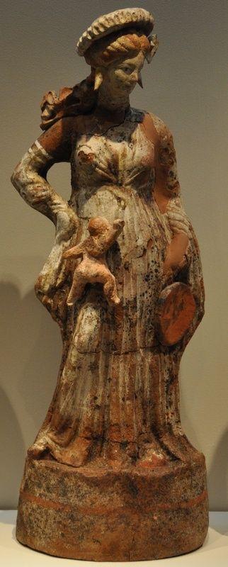 Greek terracotta from Tanagra, 350 BC.