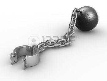 Deze afbeelding heb ik gebruikt als voorbeeld voor de ketting en kogel. Ik heb alleen de ring die aan de enkel moet weggelaten en de ketting rechtstreeks aan de voet gemaakt.
