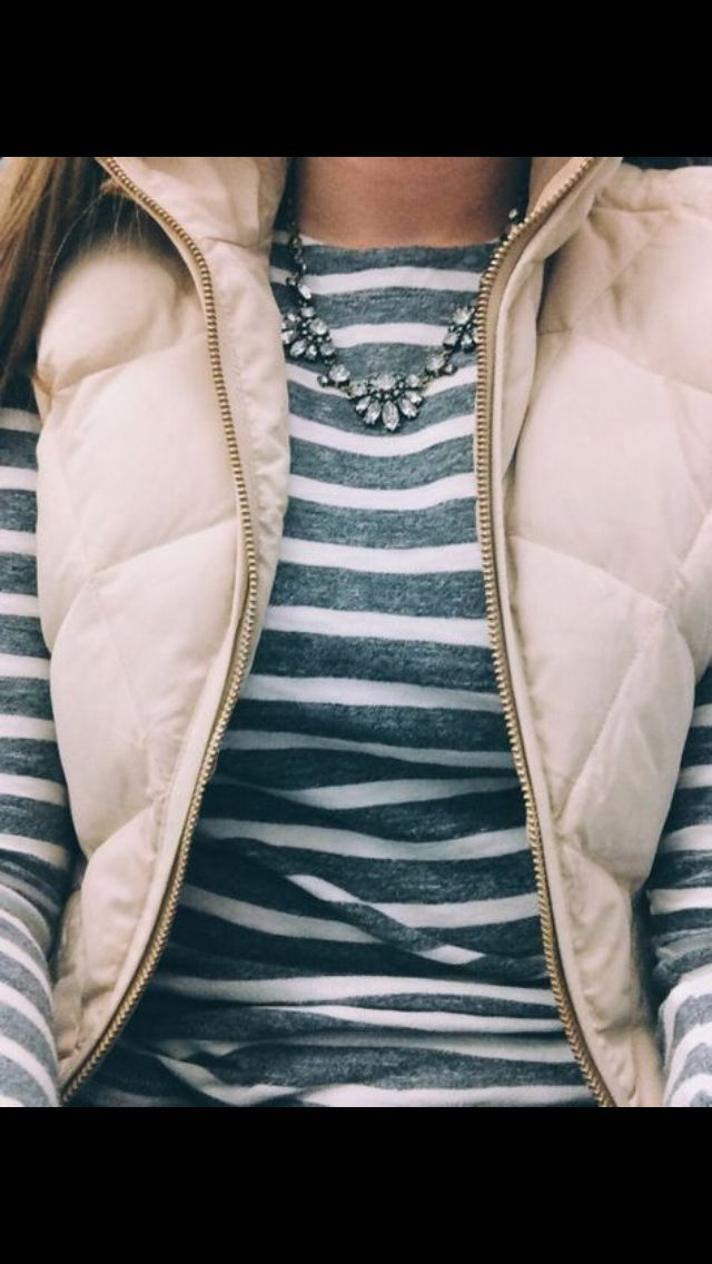 Stitch Fix Fall Winter Fashion. Striped long sleeved tee and cream puffer vest.