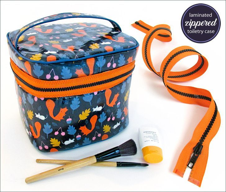 Laminated Make-Up/Toiletries Case with Wraparound Zipper tutorial and downloadable pattern template.