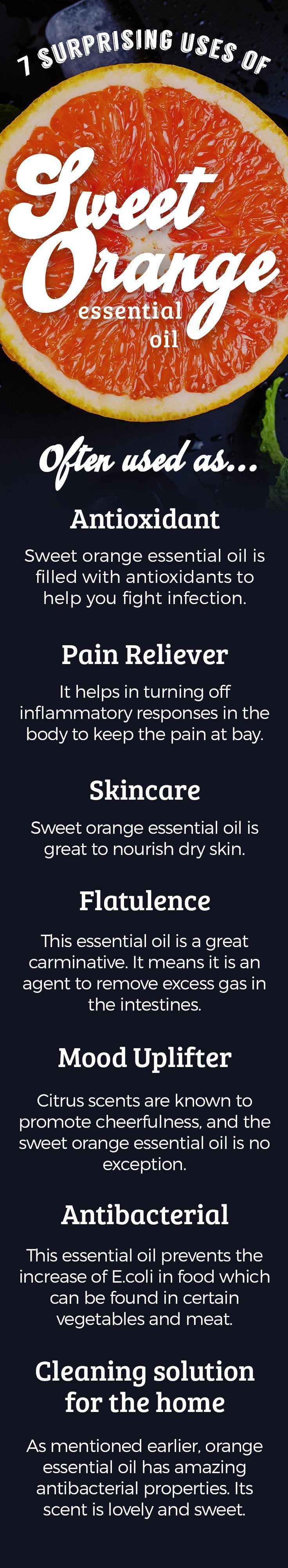 sweet orange essential oil uses infographic
