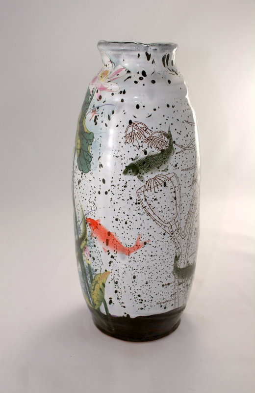 Luscious sea life on this stunning handmade vase decorated with custom decals justin rothshank