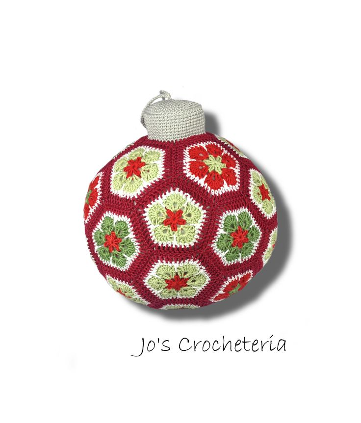 Free Crochet Pattern African Flower Christmas Xmas Ornament Ball by Jo's Crocheteria #freecrochet #freecrochetpattern #crochetpatternsfree #crochetfreepattern #crochetdesigns #easycrochetpatterns #patternsforcrochet #freeeasycrochetpatterns #allfreecrochet #crochetideas #simplecrochetpattern