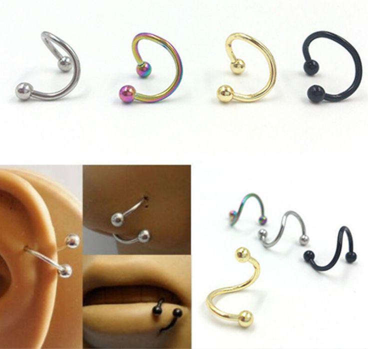 2016 Unik Dirancang Stainless Steel Twisted Hidung Hidung Piercing Lip Cincin Hidung Pejantan Sashimi Perhiasan Untuk Wanita Grosir
