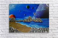 Acrylic Print,  for sale, universe, planets, cosmos, space, coastal, scene,dark,night,chaos,earth,galaxy,sea,water,beach,comets,rocks,stones,sandy,fantasy,blue,beautiful,image,fine art,oil,painting,contemporary,scenic,modern,virtual,deviant,awesome,cool,artistic,artwork,decor,items,ideas, pictorem