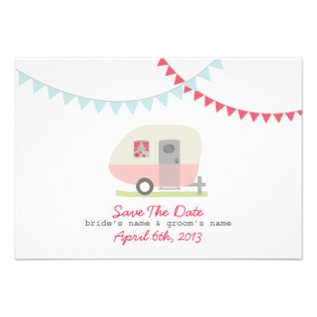 A wedding save the date featuring an illustration of a vintage inspired pink trailer parked on green grass. Trailer has a window box full of colorful flowers. Blue and red bunting at top. Look for matching wedding invitations and more at Jill's Paperie. #wedding #trailer #trailer #wedding #camper #retro #trailer #vintage #trailer #pink #trailer #bunting #retro #wedding #save #the #date