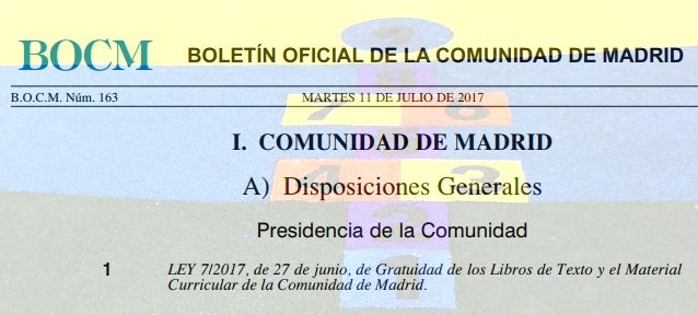 Ley de Gratuidad de Libros de Texto y Material Curricular en la Comunidad de Madrid. #SIOEP