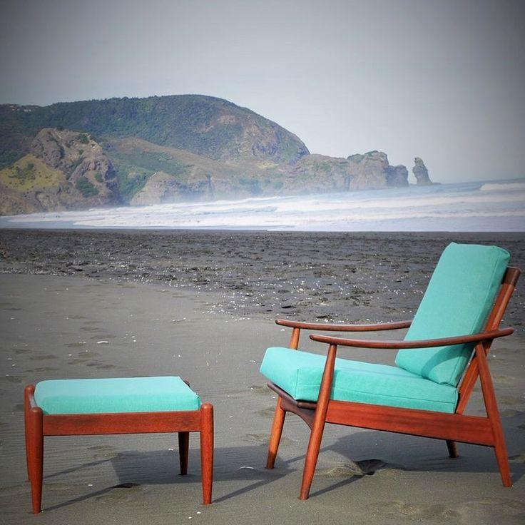 tangerine & teal, Parker mid century chair at Piha beach
