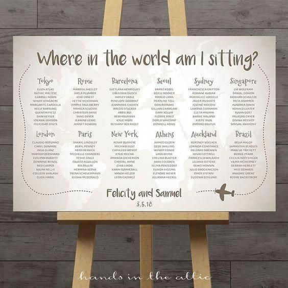 World Map Wedding Seating Chart Travel Theme City Destination Table Ignment Decoration Names