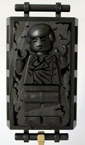 That's right, Lego Han Solo frozen in carbonite. So much better than that stick on a grey Lego shit.