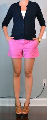 Outfit Posts: outfit post: pink shorts, navy cardigan, wedges