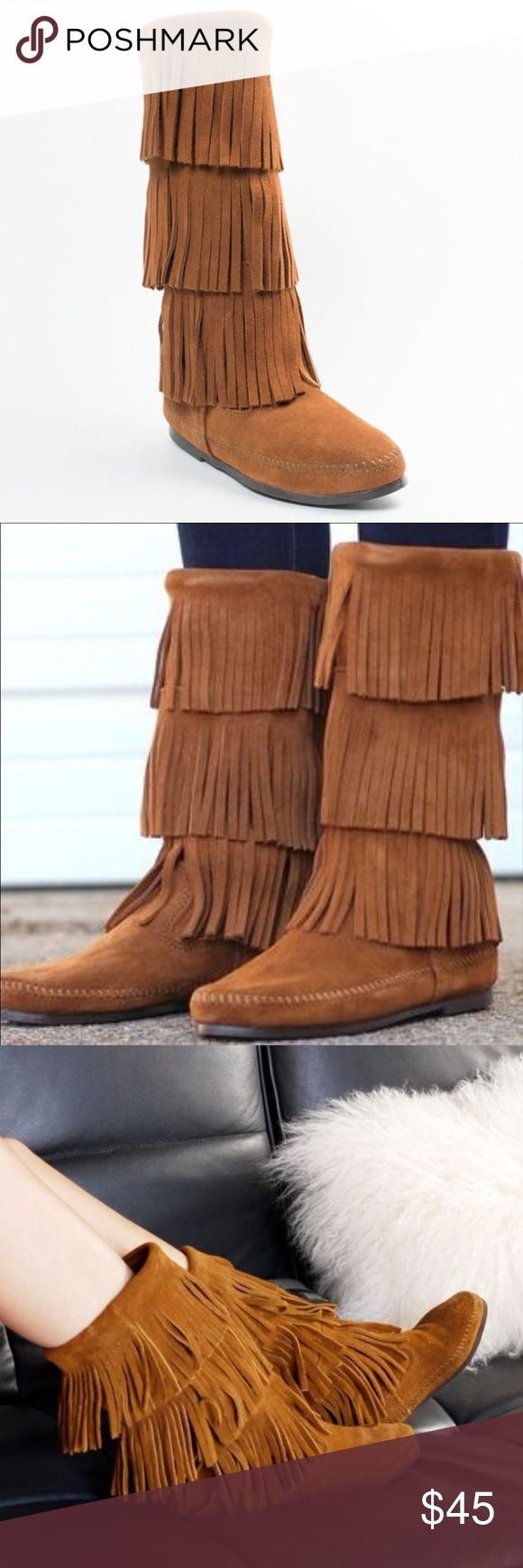 """MINNETONKA 3 Layer Fringe Suede Moccasin Boots 6 Stylish mid-calf boot from Minnetonka Soft suede uppers are breathable and mold to your feet with each step. Striking fringe detail offers bold tribal influence for lasting appeal. Convenient slip-on silhouette ensures easy on-and-off wear. Lightweight rubber outsole delivers long-lasting durability on a variety of surfaces. Size 6. Measures 9 1/2"""" across bottom sole. Color is Dusty Brown. Purchased from Nordstrom for $98. Worn only once with…"""
