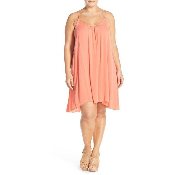 Elan Scooped Back Cover-Up Slipdress ($50) ❤ liked on Polyvore featuring swimwear, cover-ups, coral, plus size, swim cover up, plus size womens swimsuits, swimsuit cover ups, plus size swimsuit cover up and swimsuit cover up