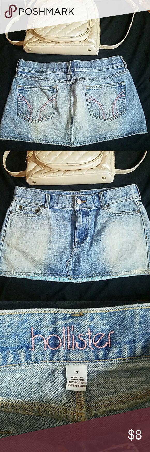 Hollister mini jean denim skirt distressed sz7 Light factory distressing Hollister Skirts Mini