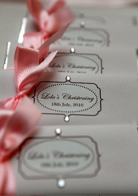 Paris stripe christening design, Personalised chocolate favours designed by COCO AVENUE