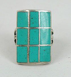 Authentic Native American Vintage Sterling Silver Turquoise Windowpane Ring