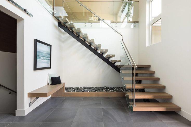 viertelgewendelte Treppe modern Holz Stahl Glas interiors staircase  Haus in 2019  Treppe
