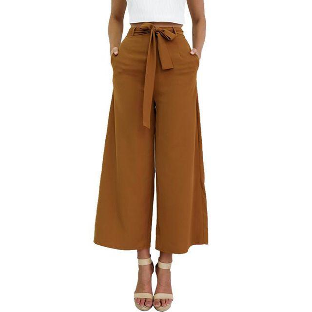 P177 Femmes de Cru Lâche Fit Bow Cravate Taille Haute Casual  cheville,Longueur Large Jambe
