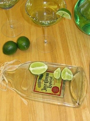 Flatten glass bottles in a convection ovento make cutting boards or small serving trays! Pin now read later