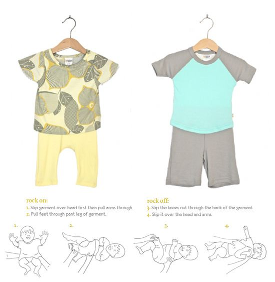 Easy on/off and stylish baby clothes - no snaps or zippers! Rock Me Baby