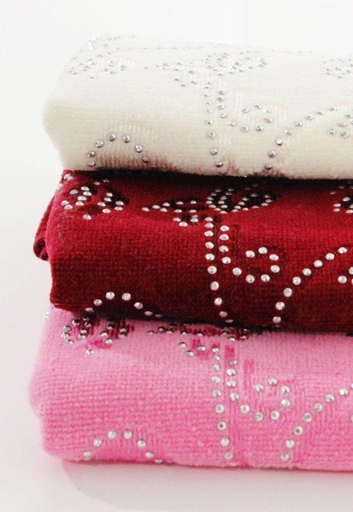 3'Lü Havlu Seti Kadife Taşlı | Banyo Tekstili | Moda Fabrik
