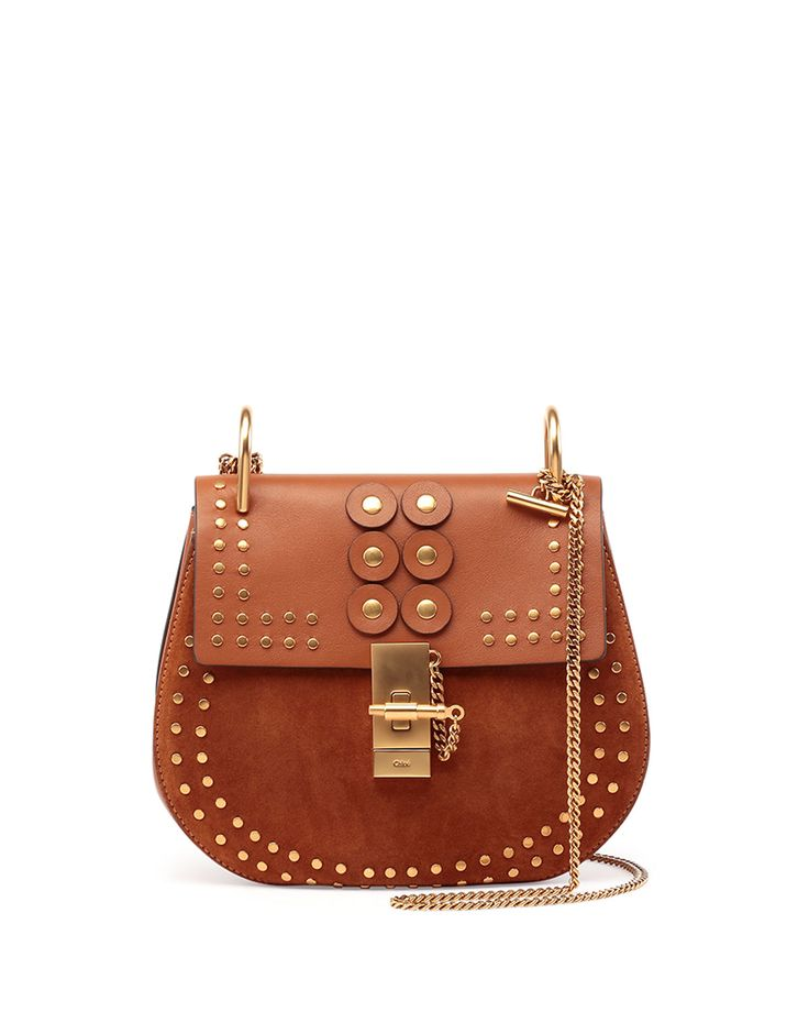 Chloe Drew Studded Suede & Leather Shoulder Bag, Caramel