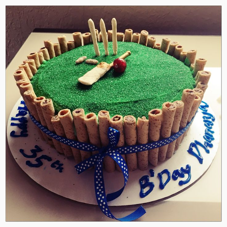 Cricket themed cake! Chocolate cake with vanilla whipped frosting covered in green sugar.