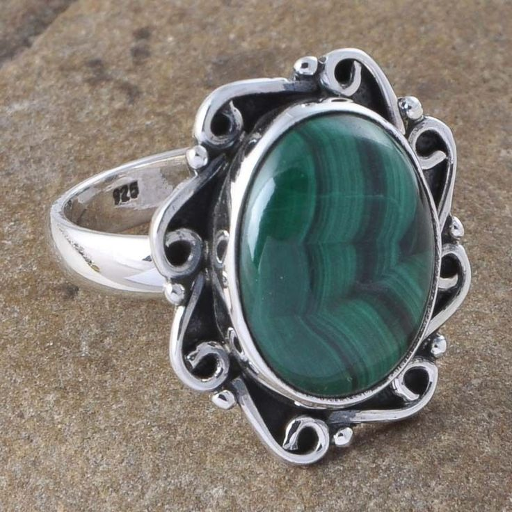 925 SOLID SILVER NATURAL MALACHITE STONE 6.69g EXCLUSIVE RING R01171 #Handmade #Ring