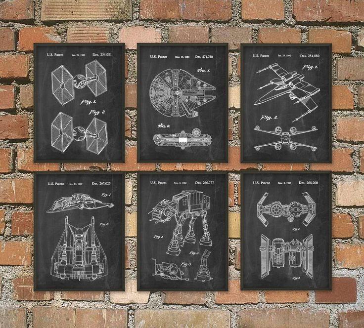 Star Wars Patent Prints Set van 6 - Star Wars Millennium Falcon - Star Wars slaapkamer Wall Art - Star Wars film octrooien - sciencefiction door QuantumPrints op Etsy https://www.etsy.com/nl/listing/230601857/star-wars-patent-prints-set-van-6-star