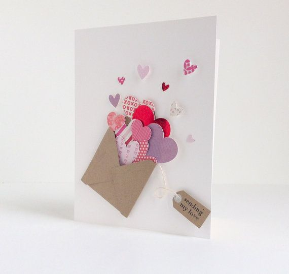 Handmade Greeting Card- Romance Card- Valentine's Card- I Love You - 25+ Easy DIY Valentine's Day Cards - NoBiggie.net