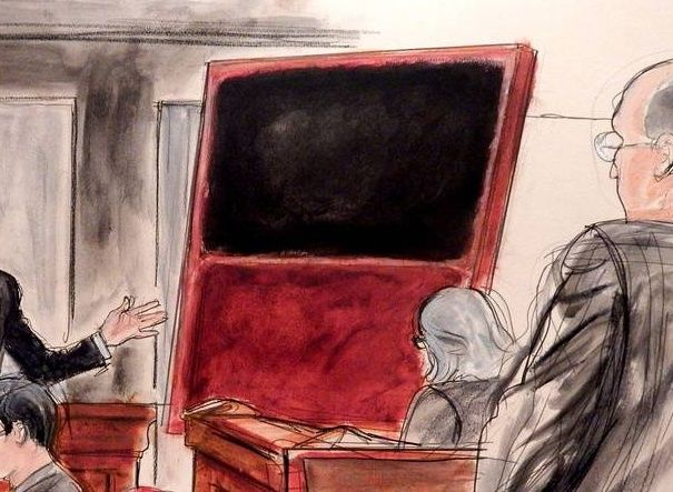 A courtroom sketch of the fake Rothko painting Domenico De Sole bought from Knoedler gallery.Photo: Elizabeth Williams, courtesy ILLUSTRATED COURTROOM.