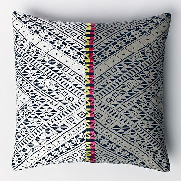 Thai Embroidered Two-Tone Pillow Cover