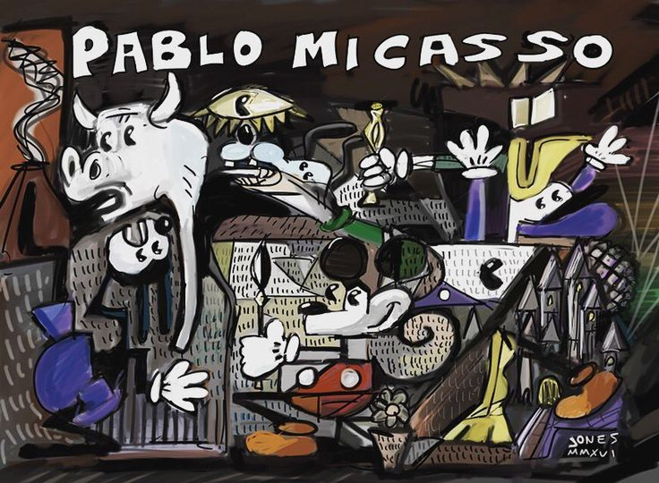 Brand New Daily Doodle: I'm a Micasso! #picasso #MickeyMouse #disneyworld #DonaldDuck #goofy #cubism #guernica #art